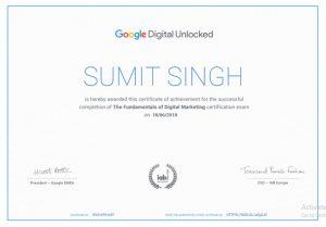 Sumit Google Digital Unlocked Certificate