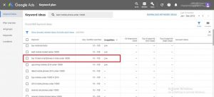picture of keyword research using google keyword planner tool