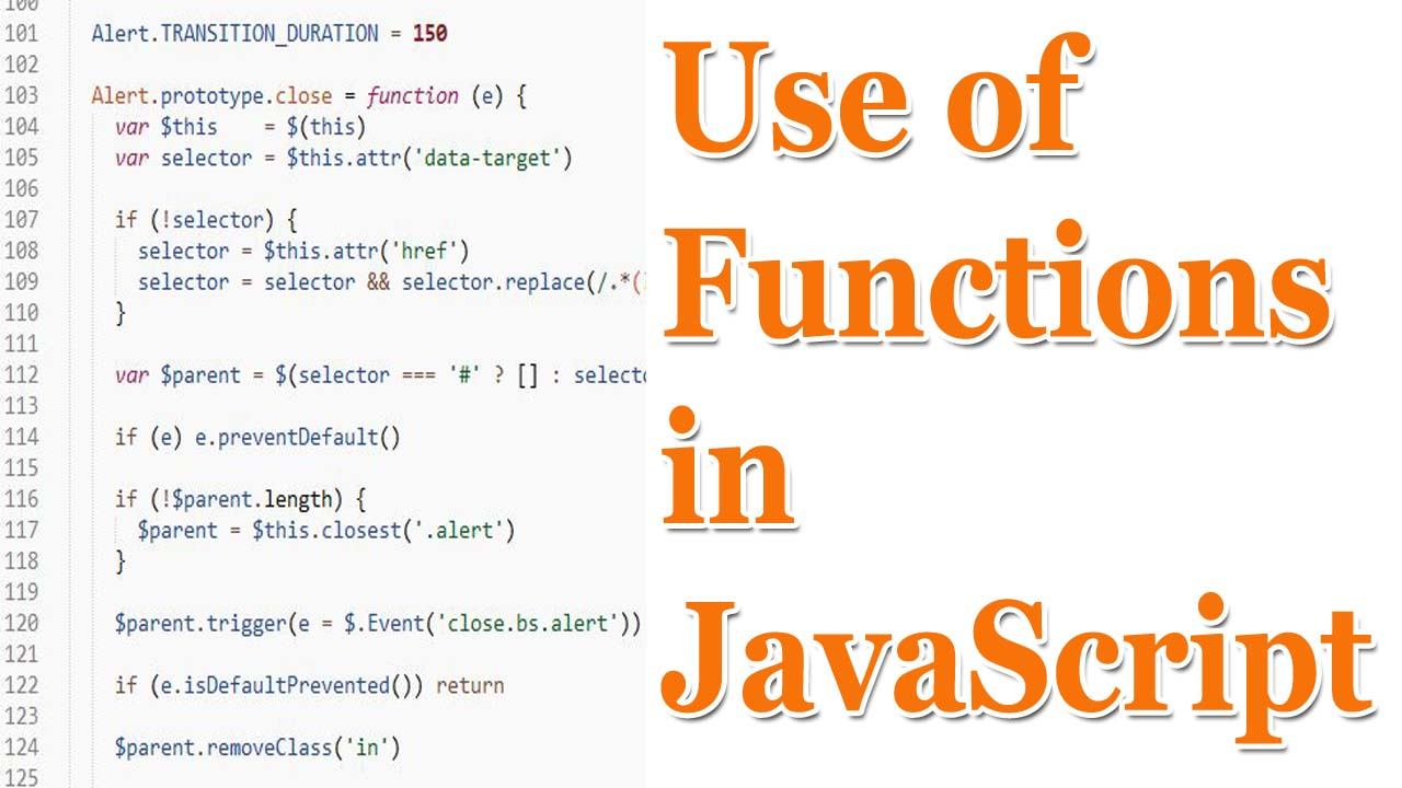 Picture of use of functions in JavaScript